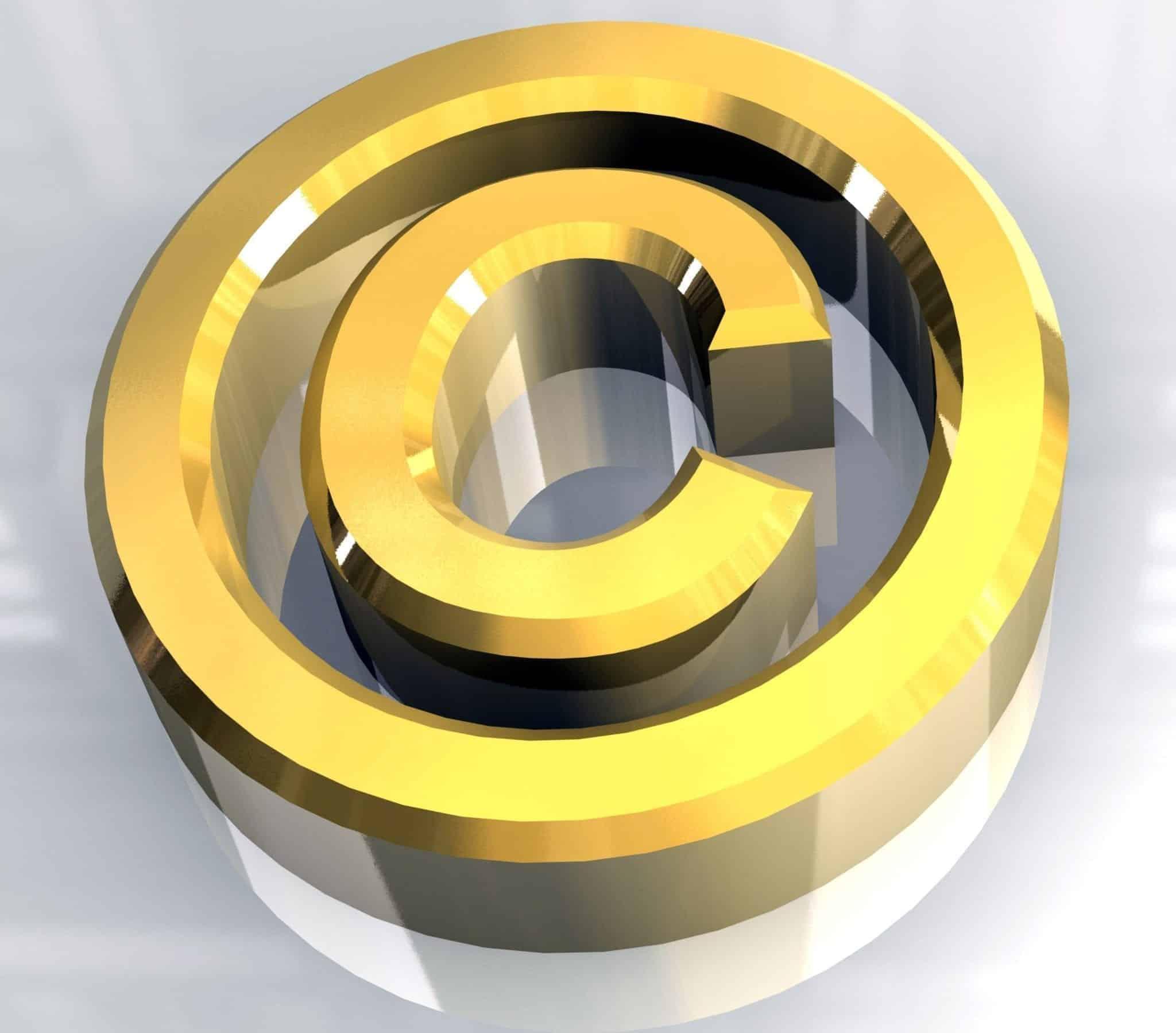 copyright symbol in gold (3d)